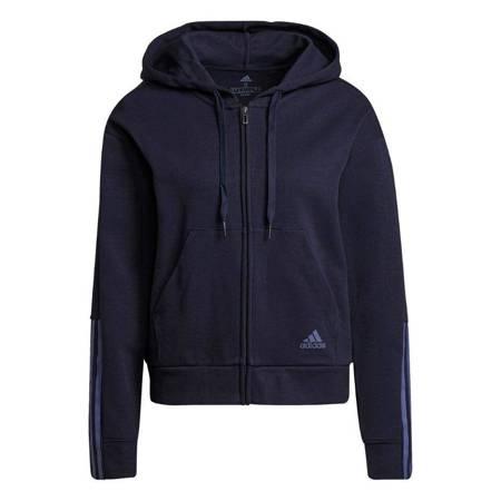 Bluza damska adidas Essentials Loose-Cut 3-Stripes Full-Zip Hoodie granatowa H07805