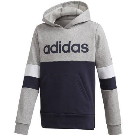 Bluza dla dzieci adidas Linear Colorbock Hooded Fleece szaro-granatowa GD6323