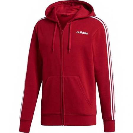 Bluza męska adidas Essentials 3 Stripes Fullzip Fleece czerwona FI0807